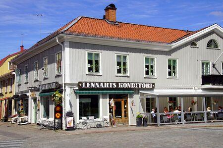 Eksj, Sweden - July 31, 2019: Restaurant Lennarts Konditori in the enter of Eksj. Redakční
