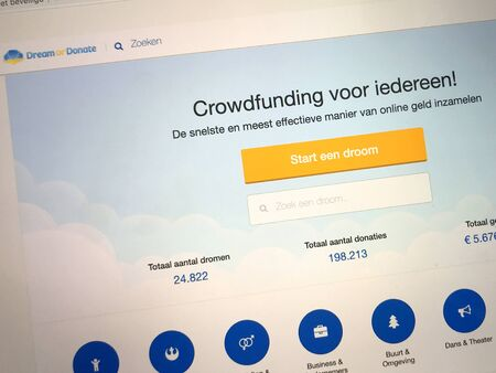 Zwolle, the Netherlands - August 30, 2019: Website of Dutch crowdfunding platform Dream or Donate. 報道画像