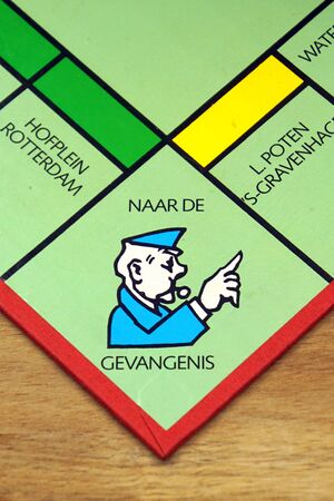 Amsterdam, the Netherlands - September 13, 2019: Go to jail point on a Dutch Monopoly board.