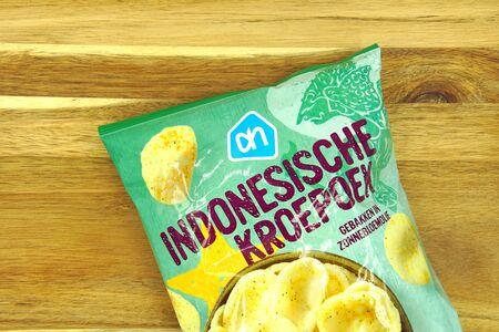 Zaandam, the Netherlands - September 14, 2019: Package Albert Heijn Indonesian Kroepoek.