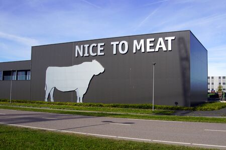 Almere, the Netherland - September 20, 2019: Wall logo and building of Dutch butchery Nice toe Meat.