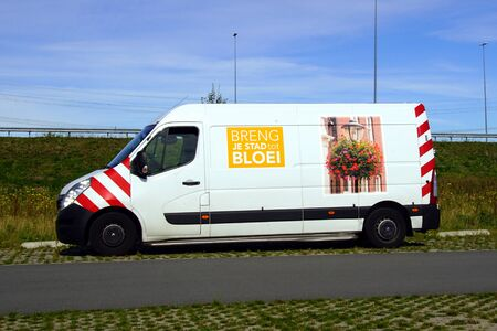 Almere, the Netherland - September 20, 2019: White Bring your City to Bloom delivery van.