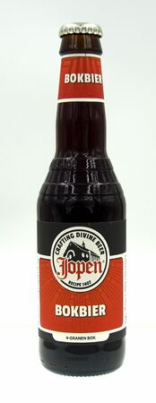 Haarlem, the Netherland - September 24, 2019: Bottle of Jopen 4 Cereals Dubbelbock, a Doppelbock styled beer brewed by Jopen.