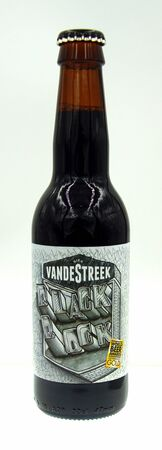 Amsterdam, the Netherland - September 24, 2019: Bottle of VandeStreek Blackbock, a Dunkler Bock styled beer brewed by VandeStreek beer.