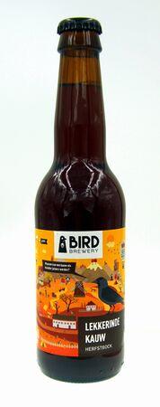 Amsterdam, the Netherland - September 24, 2019: Bottle of Bird Lekkerinde Kauw, a Duncler styled beer brewed by Jopen.