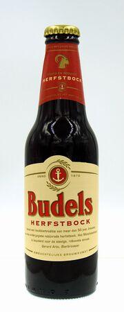 Amsterdam, the Netherland - September 24, 2019: Bottle of Budels Herfstbock, a Dunkler Bock styled beer brewed by Budelse Brouwerij.