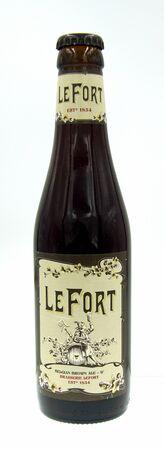 Amsterdam, the Netherland - October 9, 2019: Bottle of Brasserie LeFort beer, a Belgian styled strong ale, brewed by Omer Vander Ghinste.