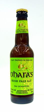Amsterdam, the Netherland - October 9, 2019: Bottle of Carlow OHaras Irish Pale Ale, an American styled Pale Ale brewed by Carlow.