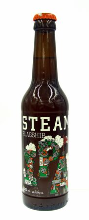 Vancouver, Canada - October 9, 2019: Bottle of Steamworks Flagship, an IPA styled beer brewed by Steamworks Brewing.
