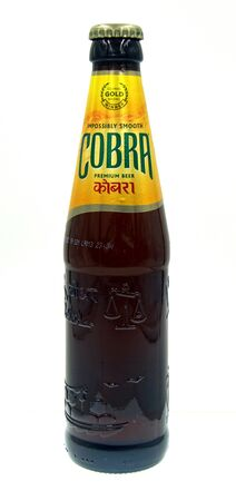 Amsterdam, the Netherland - October 9, 2019: Bottle of Cobra Beer, a Pale Lower styled light beer brewed by Molson Coors UK (Molson Coors).