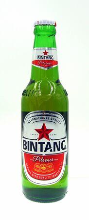 Amsterdam, the Netherland - October 9, 2019: Bottle of Bintang Bir Pilsener, a Pale Lager styled beer brewed by Pt. Multi Bintang (Heineken).