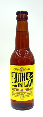 Amsterdam, the Netherland - October 9, 2019: Bottle of Brothers in Law, an Australian Pale Ale styled beer. Redactioneel