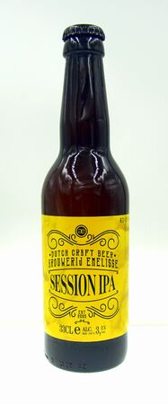 Goes, Netherlands - October 9, 2019: Bottle of Emelisse Session, an IPA styled beer brewed by Slot Oostende.