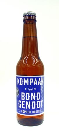 The Hague, Netherlands, Netherlands - October 9, 2019: Bottle of Kompaan 20 Ally, a Belgian Golden Pale Ale styled beer brewed by Kompaan.