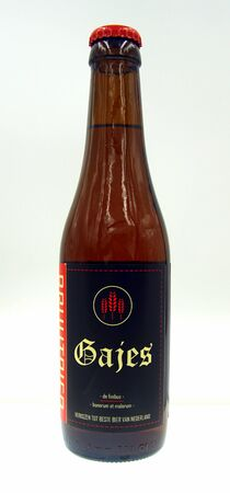 Amsterdam, the Netherland - October 9, 2019: Bottle of Bruut Gajes, a Belgian styled Strong Ale brewed by Bierbrouwerij Praght.