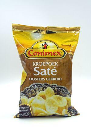 Zaandam, the Netherlands - December 13, 2019: Package of Conimex deep fried prawn Sate Crackers.