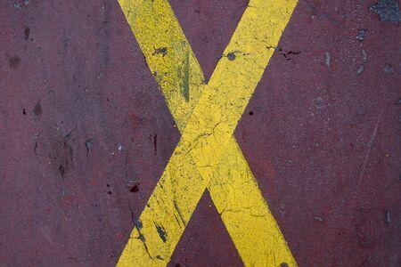 Road marking - X (crossing lanes) Stock Photo