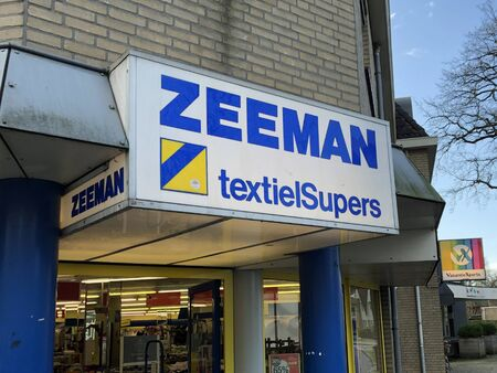 Epe, the Netherlands - February 17, 2020: Logo and entrance of Dutch low cost textile store chain Zeeman. Editorial