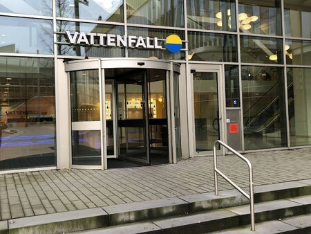 Amsterdam, the Netherlands - February 28, 2020: Entrance of Dutch Vattenfall office in Amsterdam.