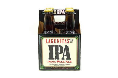 Petaluma, California - April 30, 2020: Four Pack Lagunitas India Pale Ale (IPA) against a white background. Editorial