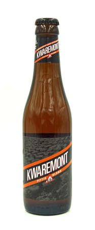 Harelbeke, Belgium - May 8, 2020: Bottle of Bavik Kwaremont Blond beer, a Belgian Golden Pale Ale styled beer, brewed by De Brabandere.