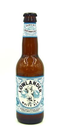 Amsterdam, Netherlands - May 8, 2020: Bottle of Lowlander White Ale, a White Ale styled Belgian beer, brewed by Lowlander Beer.