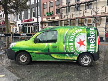 Vlissingen, the Netherland - October 13, 2020: Heineken beer service car parked on a public square. Nobody in the vehicle. Editorial