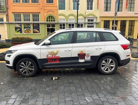 Vlissingen, the Netherland - October 13, 2020: Gulden Draak service car parked in a public parking lot. Nobody in the vehicle. Editorial