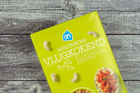 Amsterdam, the Netherlands - November 13, 2020: Package of Albert Hein quick-cooking macaroni.