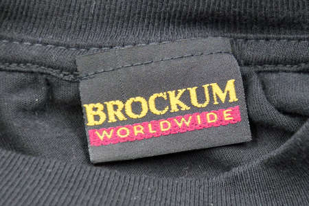 Amsterdam, the Netherlands - November 16, 2020: Brockum Worldwide label, a 1990's concert T-Shirt producer.