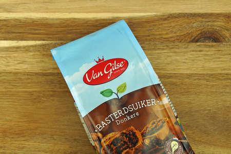 Zaandam, the Netherlands - November 21, 2020: Package of Van Gils Caster Sugar against on a kitchen table.
