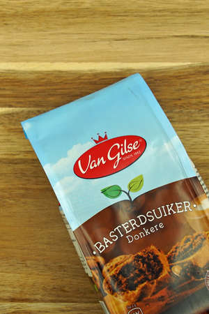 Zaandam, the Netherlands - November 21, 2020: Package of Van Gilse Caster Sugar against on a kitchen table. Editorial