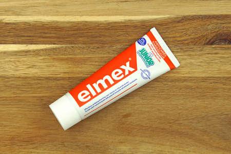 Zaandam, the Netherlands - November 22, 2020: Tube of Elmex Junior Anti-Caries kids toothpaste.