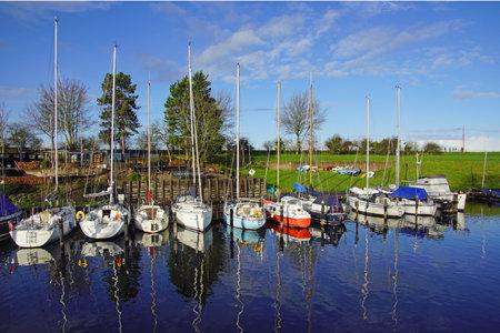 Veere, the Netherlands - January 2, 2021: Dutch pleasure boat in the harbor of Veere.