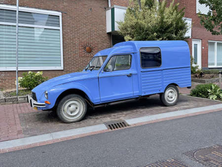 Valkenburg, the Netherland - July 28, 2021: Blue Citroën Acadiane panel of parked by the side of the road. Nobody in the vehicle. Editorial