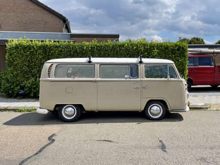 Valkenburg, the Netherland - July 29, 2021: Volkswagen Transporter Type 2 parked by the side of the road. Nobody in the vehicle.