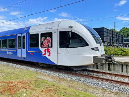 Kerkrade, the Netherland - July 25, 2021: Dutch Arriva electrical passenger train standing at Kerkrade railway station. Editorial