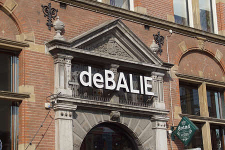 Amsterdam the Netherland - August 5, 2021: Entrance sign of De Balie, a Dutch theater and center for politics, culture and media.