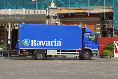 Amsterdam the Netherland - August 5, 2021: Bavaria beer delivery truck parked by the side of the road. Nobody in the vehicle.