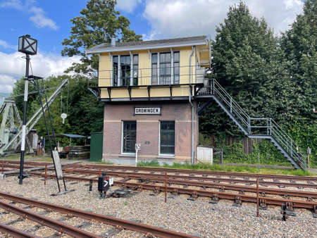 Utrecht, the Netherland - August 8, 2021:Traditional Dutch railroad switch tower. Editorial