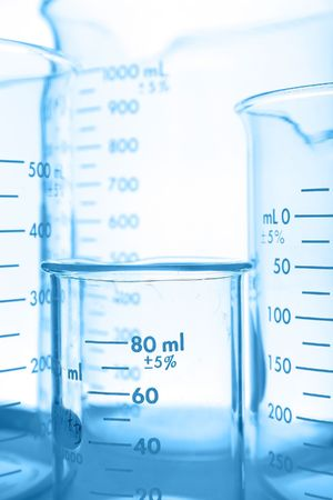 Laboratory glassware, tungsten toned beakers Stock Photo