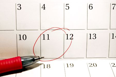 circled: Personal calendar with circled date