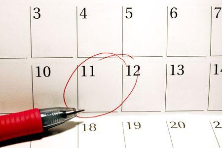 Persoonlijke agenda met omcirkelde datum