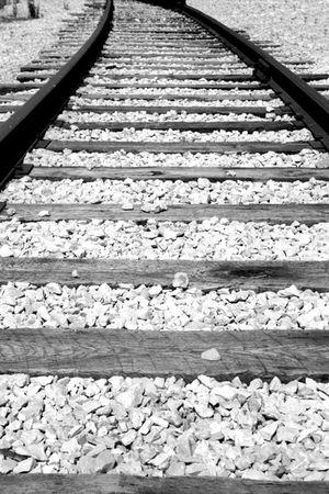 Black and white train tracks Banco de Imagens