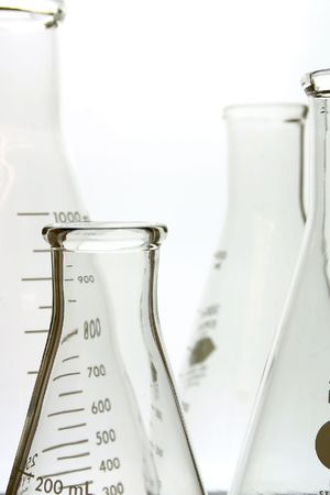 Laboratory glassware, various sized flasks