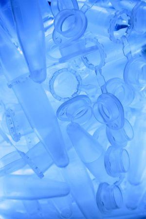 Microtubes in a glass beaker Imagens