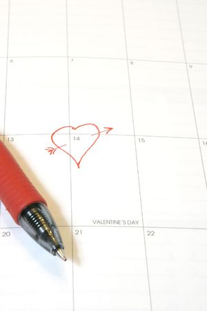 Personal calendar with February 14 marked by a heart
