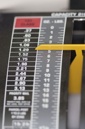 postage: Closeup image of postage scale Stock Photo