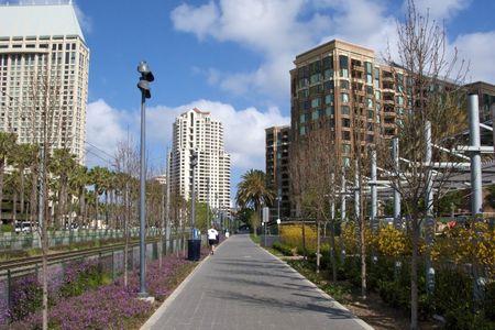 Walking path through San Diego, CA Stock Photo