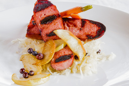 A restaurant dish of Creole Choucroute Garnie Stock Photo